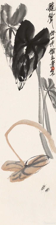齐白石《秋声》 133x33cm 无年款 纸本设色 北京画院藏