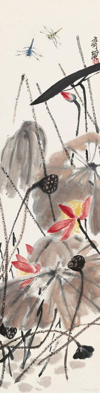齐白石《荷花蜻蜓》 纸本设色 133.5x34cm 无年款 北京画院藏