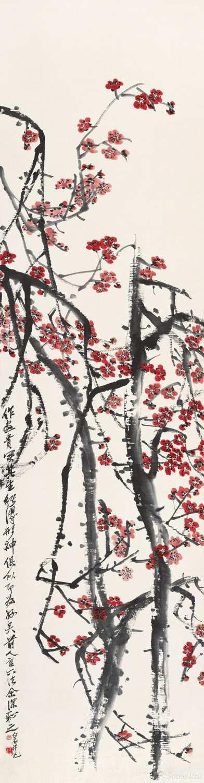 齐白石《红梅图》 67.5x43.5cm 无年款 纸本设色 北京画院藏