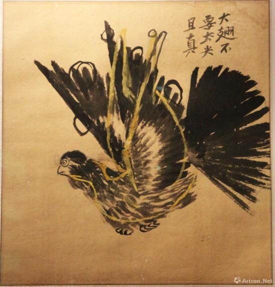 齐白石《飞鸽》 无年款 北京画院藏 题跋:大翅不要太尖且真