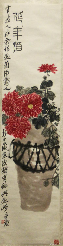 齐白石《延年酒》 137.5x34cm  无年款  纸本设色  北京画院藏