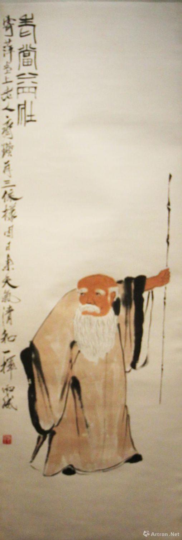 齐白石《老当益壮》 139.5x48cm  纸本设色   北京画院藏
