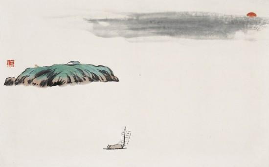 """借山图之四洞庭君山 齐白石 1910年 30×48cm 纸本设色 北京画院藏 在《借山图册》中,洞庭落日、灞桥风雪、十里桃花、雁塔坡、滕王阁……这些景色也活灵活现,仿佛跃然纸上。这一时期""""看似寻常实奇崛""""的画面,构图新颖、剪裁大胆,给人以独特的视觉感受,已完全不同于前期作品或同期画家的山水画。"""