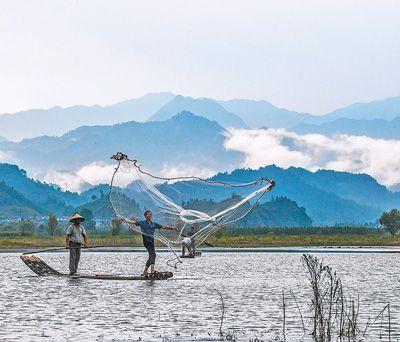 8月1日,浙江省杭州市淳安县汾口镇红星村的渔民乘著竹排,在千岛湖的