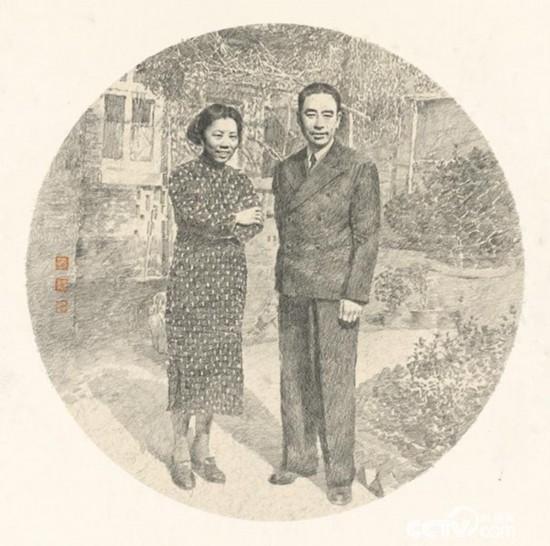 1946年,周恩来和邓颖超在梅园新村30号院内。