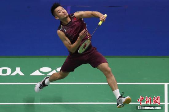 林丹在比赛中。<a target='_blank'  data-cke-saved-href='http://www.chinanews.com/' href='http://www.chinanews.com/'><p  align=
