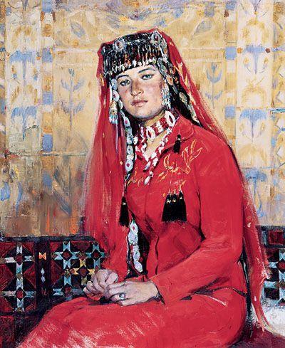盛装的塔吉克姑娘阿依古丽(布面油画)全山石