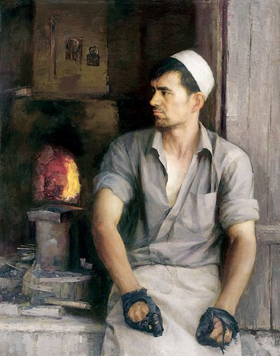 铁匠阿米尔(布面油画) 2006年 张祖英