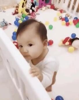 福原爱女儿学站立 小小爱大眼睛好萌