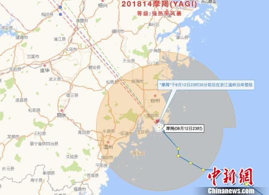 """台风""""摩羯""""登陆浙江温岭中心最大风力10级"""