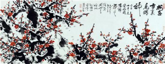 梅花雪里见精神 1993年 53×137cm 纸本设色 私人藏