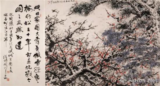 三友迎春图 1995年 140 cm×245 cm  纸本设色 关山月美术馆藏