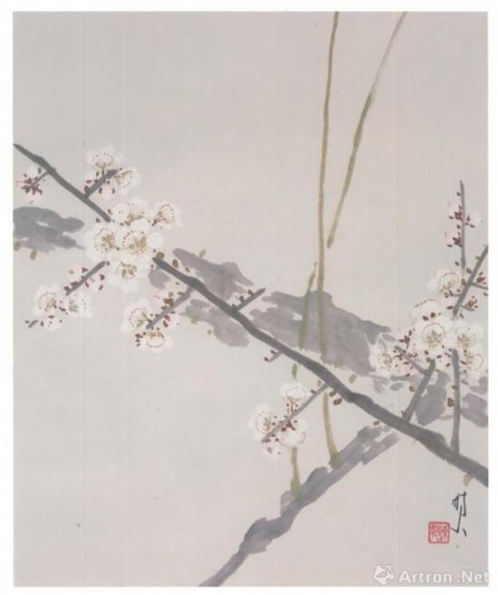 此次展出的陈树人《白梅图 》40X32.5 创作年份不详 广州艺术博物馆藏