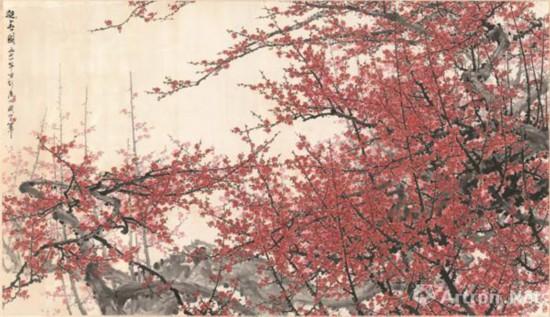 迎春图 1974年 210 . 5×371 cm 纸本设色 私人藏