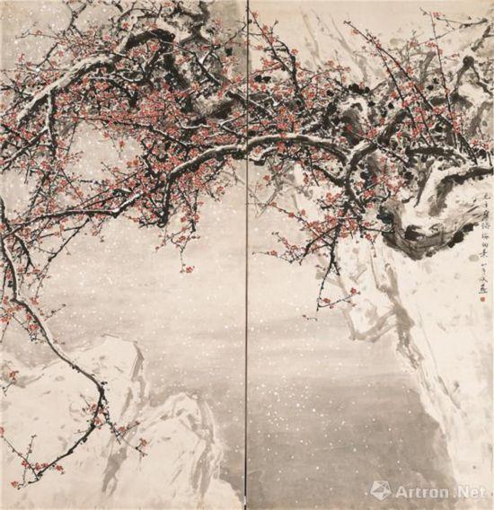 飞雪迎春到 1962年 249×284cm 纸本设色 私人藏
