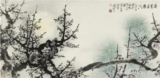 冷月墨凝香 68x136cm 1987年关山月美术馆藏