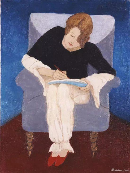 加布里埃勒・穆特《坐在扶手椅上写字的女士》