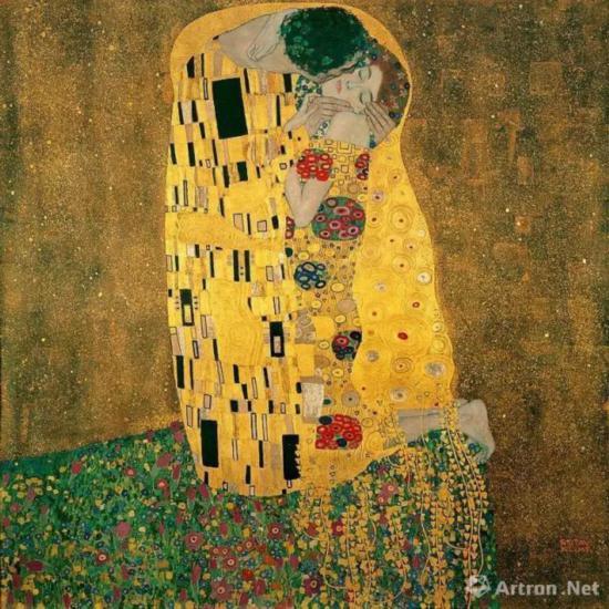 古斯塔夫・克里姆特《吻》,1907-1908年