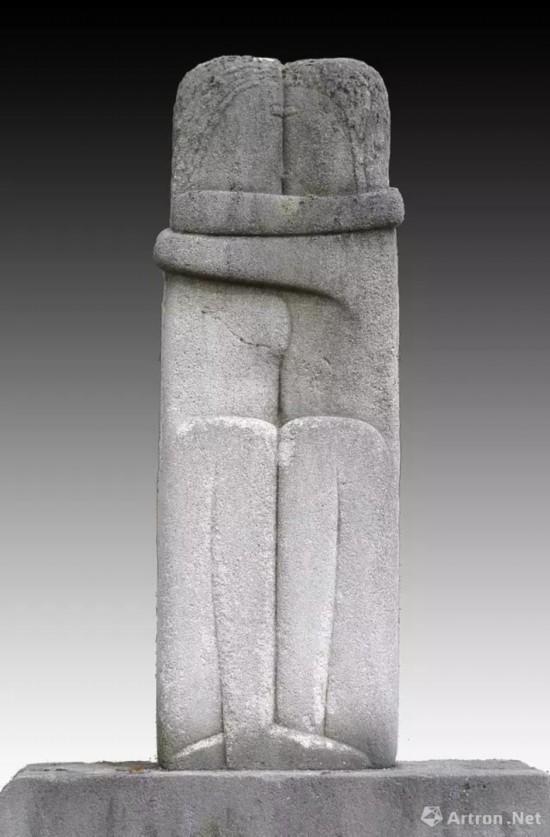 康斯坦丁・布朗库西,吻,1909,现存于巴黎蒙帕纳斯公墓