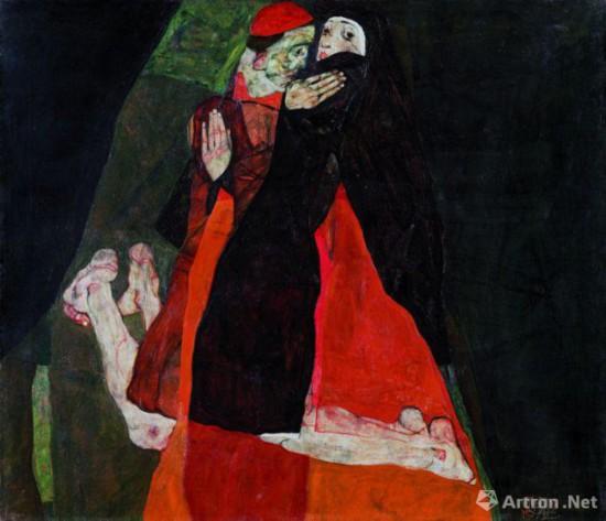 埃贡・席勒作品向老师克林姆特的致敬之作