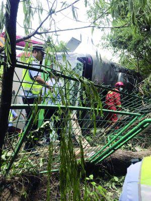 盐靖高速一大客车与小轿车相撞后侧翻致1死9伤