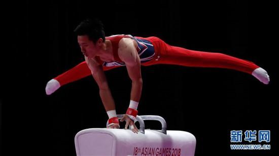 (亚运会)(1)体操――中国台北选手李智凯获男子鞍马金牌