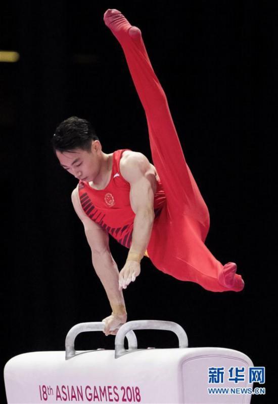 (亚运会)(7)体操――中国台北选手李智凯获男子鞍马金牌