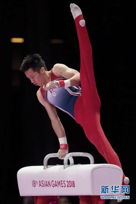 (亚运会)(5)体操――中国台北选手李智凯获男子鞍马金牌