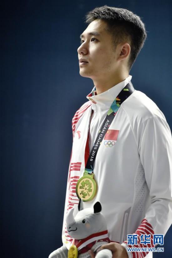 (亚运会・领奖台)(2)射击――男子10米气步枪颁奖仪式举行