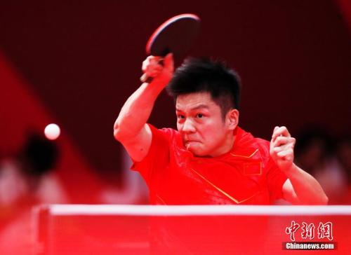 图为中国选手樊振东在比赛中。<a target='_blank'  data-cke-saved-href='http://www.chinanews.com/' href='http://www.chinanews.com/'><p  align=