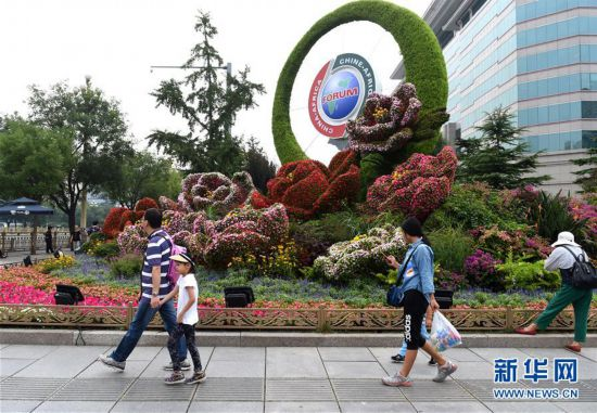 北京街头靓丽花坛迎盛会