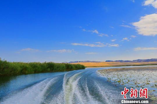 新疆博斯腾湖雨雾缭绕如画惹人醉