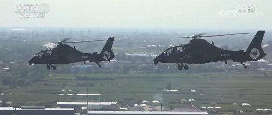 解放军陆航旅组织飞行演练 数十架战机上演立体突防