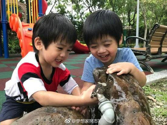 林志颖晒双子星玩耍照片:一个像爸一个像妈