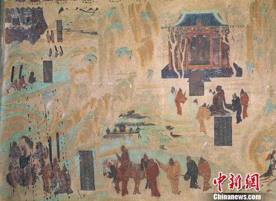 """张骞出使西域,""""凿空之旅""""打通了中国和中亚、西亚以至南欧的""""隔阂"""",同沿途各国建立起友好往来,各地的位置、人口、兵力、特产等,张骞都一一得以了解。图为莫高窟第323窟张骞出使西域图。 敦煌研究院 供图 摄"""