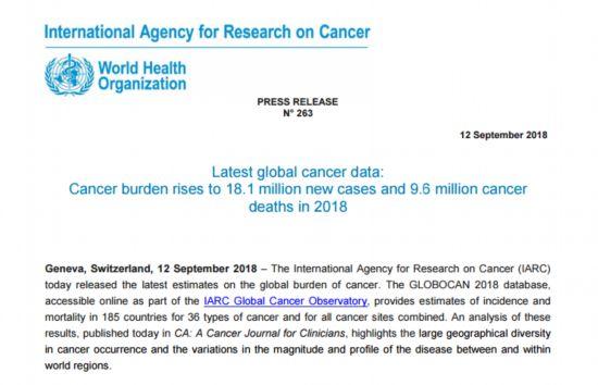 国际癌症研究中心最新数据:20%男性会患癌症