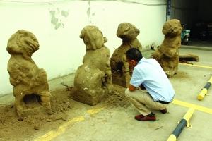 泰州高港一河道改造挖出四只明代石狮