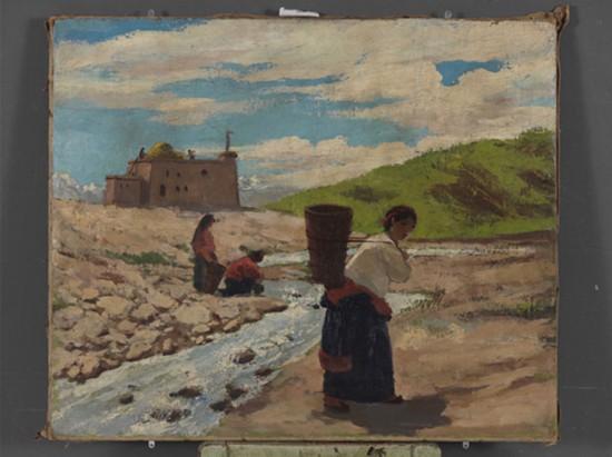吴作人作品《藏女负水》布面油画 1946年作 中国美术馆藏