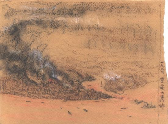 吴作人作品《重庆大轰炸》纸质 炭笔