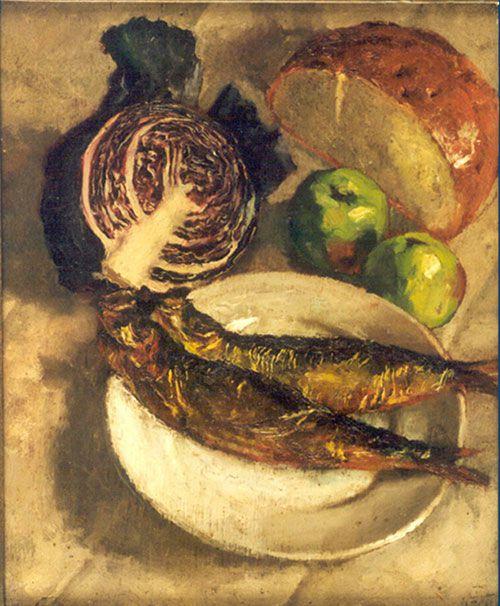 吴作人作品《静物(熏鱼)》油画 1934年作 中国美术馆藏