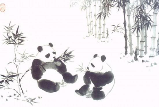 吴作人作品《大熊猫图》国画