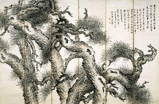 萧淑芳作品《松屏图(六条屏)》国画