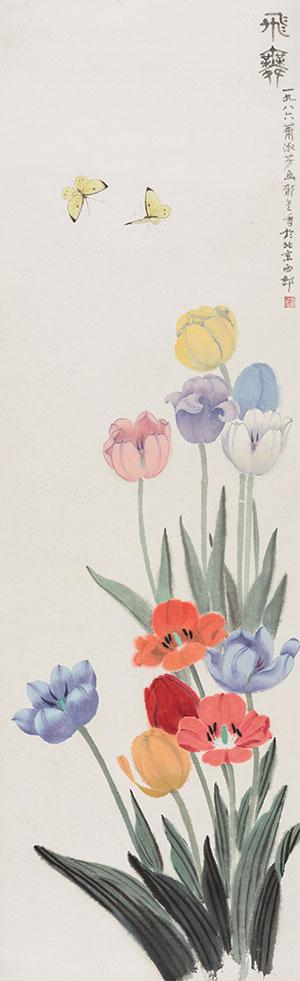 萧淑芳作品《飞舞》国画  1986年作 中国美术馆藏