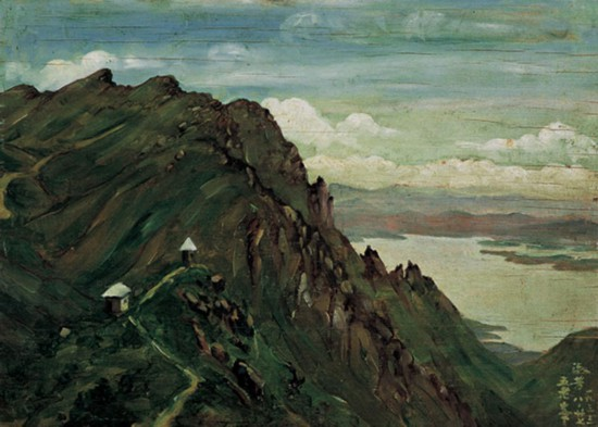 萧淑芳作品《庐山五老峰》木板油画 1933年8月27日作  中国美术馆藏
