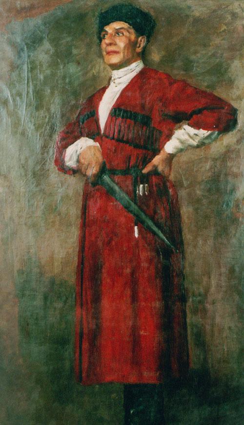 吴作人作品《哥萨克兵》布面油画 1931年作