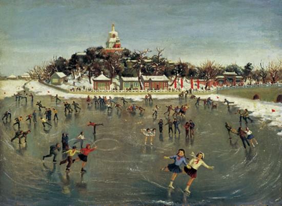 萧淑芳作品《北海溜冰》油画 1954年作
