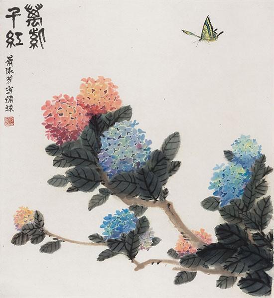 萧淑芳作品《万紫千红(绣球)》国画 1980年代作  中国美术馆藏
