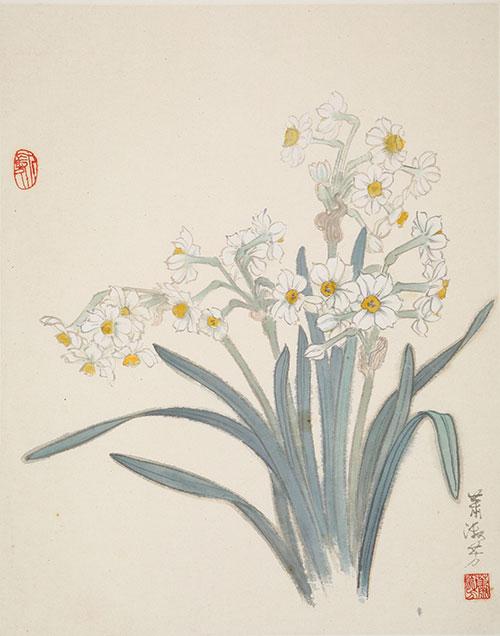 萧淑芳作品《水仙》国画 1980年代