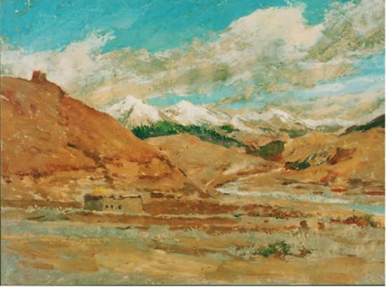 吴作人作品《炉霍郊外》油画 1944年作 中国美术馆藏