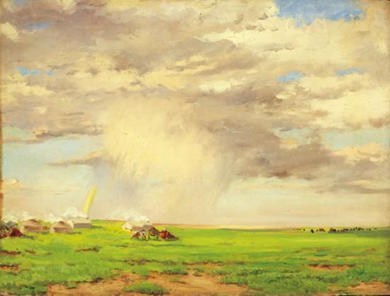 吴作人作品《草原云雨》 木板油画  1955年作
